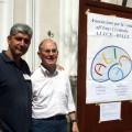 Il priore della Confraternita dell'Assunta, Francesco Di Salvio, e Nicola Senatore, referente di ALICe per la Provincia di Salerno. Sullo sfondo, il manifesto della manifestazione