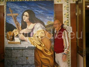 """Salvatore Sabatino a casa sua con il quadro appena """"partorito"""""""