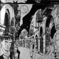 La bellissima e storica immagine di locandina di Cava Comics '92 (uno dei tanti capolavori di Bruno Brindisi), con i grandi personaggi bonelliani a passeggio tra i portici di Cava