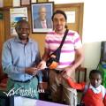 Marco Battaglini con due amici africani